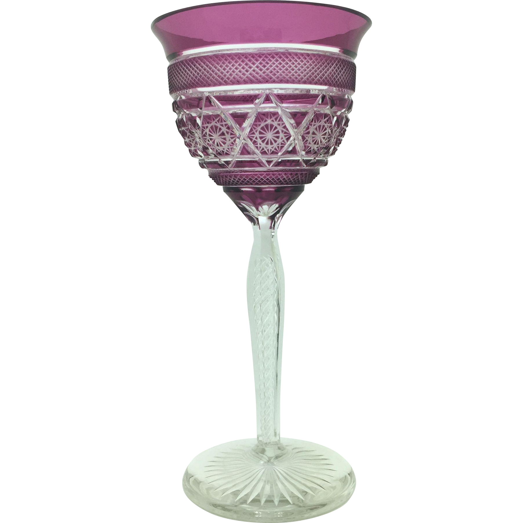 Stately Cut to Clear Purple Presentation Goblet circa 1930