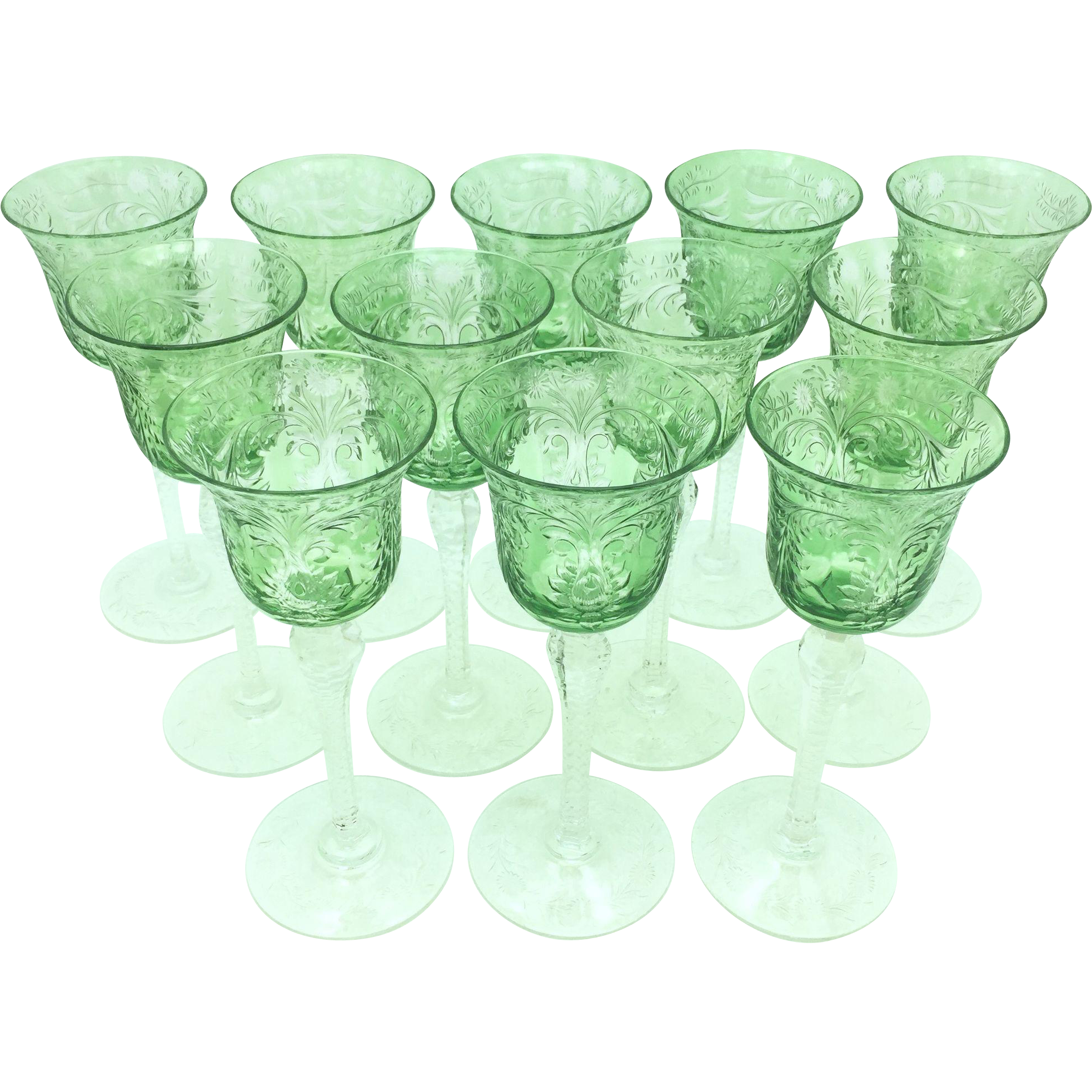 12 Engraved Green Cut to Clear Wine Glasses circa 1910
