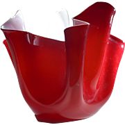 Venini Red & White Handkerchief Vase circa 1950