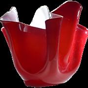 Venini Red & White Handkerchief Vase circa 1950