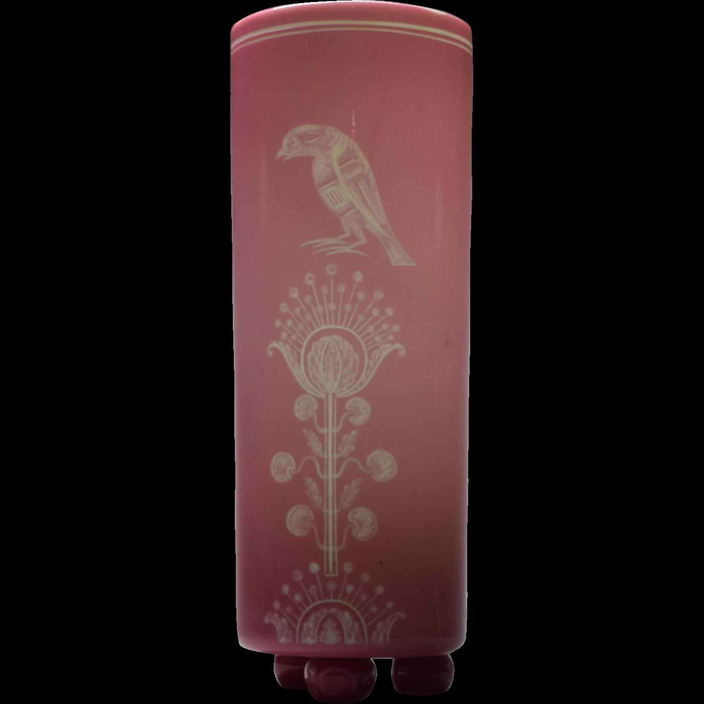Stevens + Williams Pink Engraved Vase