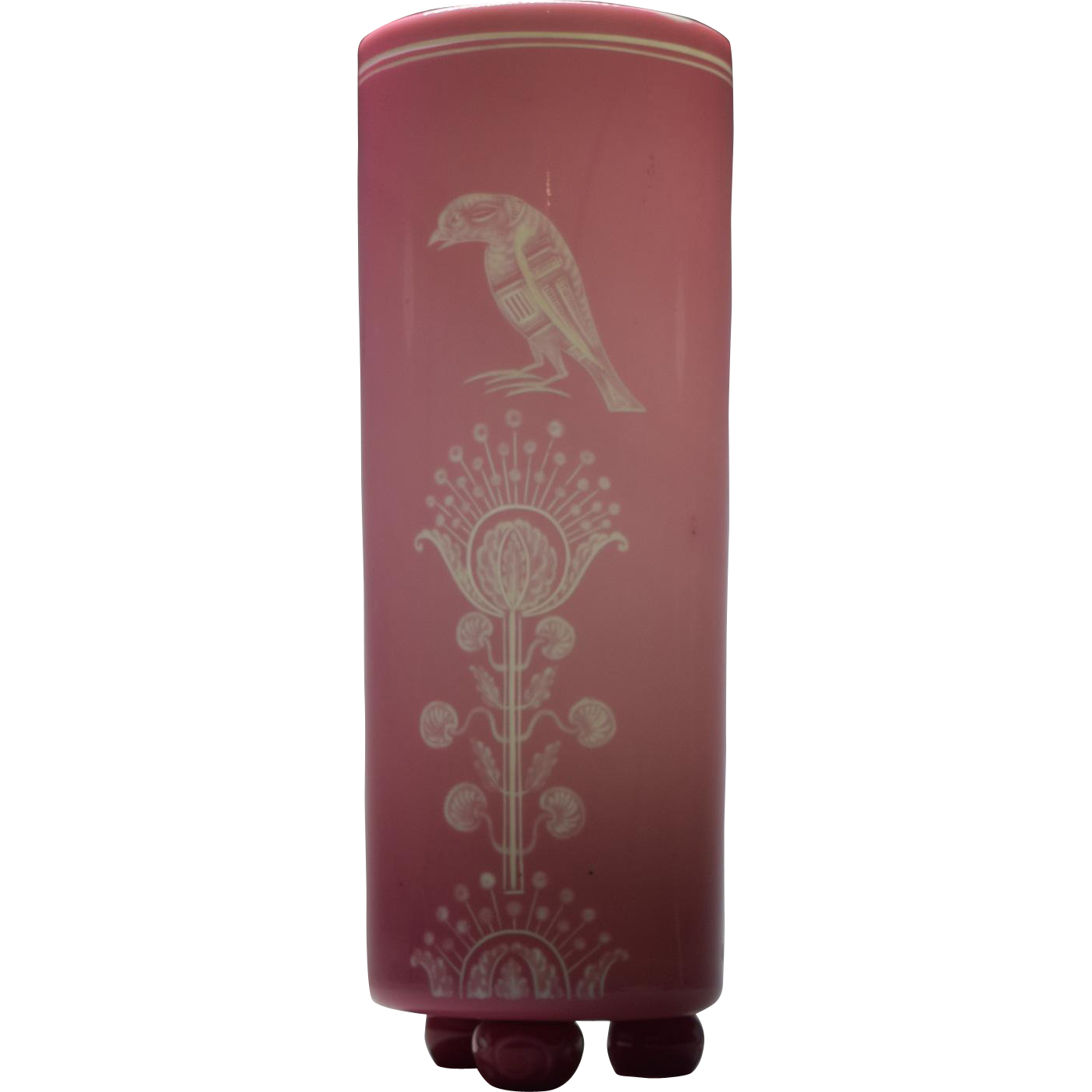 Stevens + Williams Pink Engraved Vase