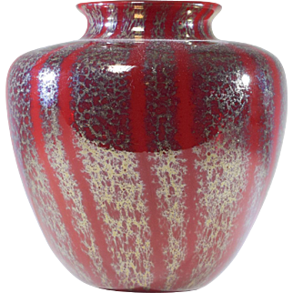 Red Chintz Rare Libbey Nash Bulbous Vase
