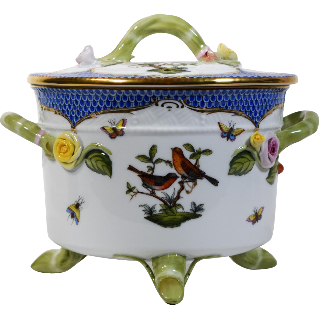 Herend Blue Rothschild Bird Covered Two Handled Ice Bucket