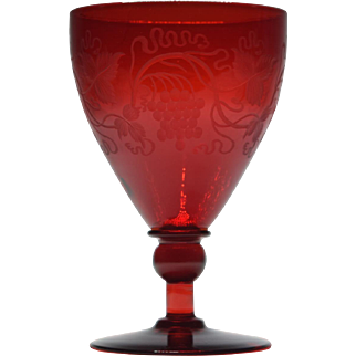 Steuben Selenium Red Goblet Engraved with Grapes