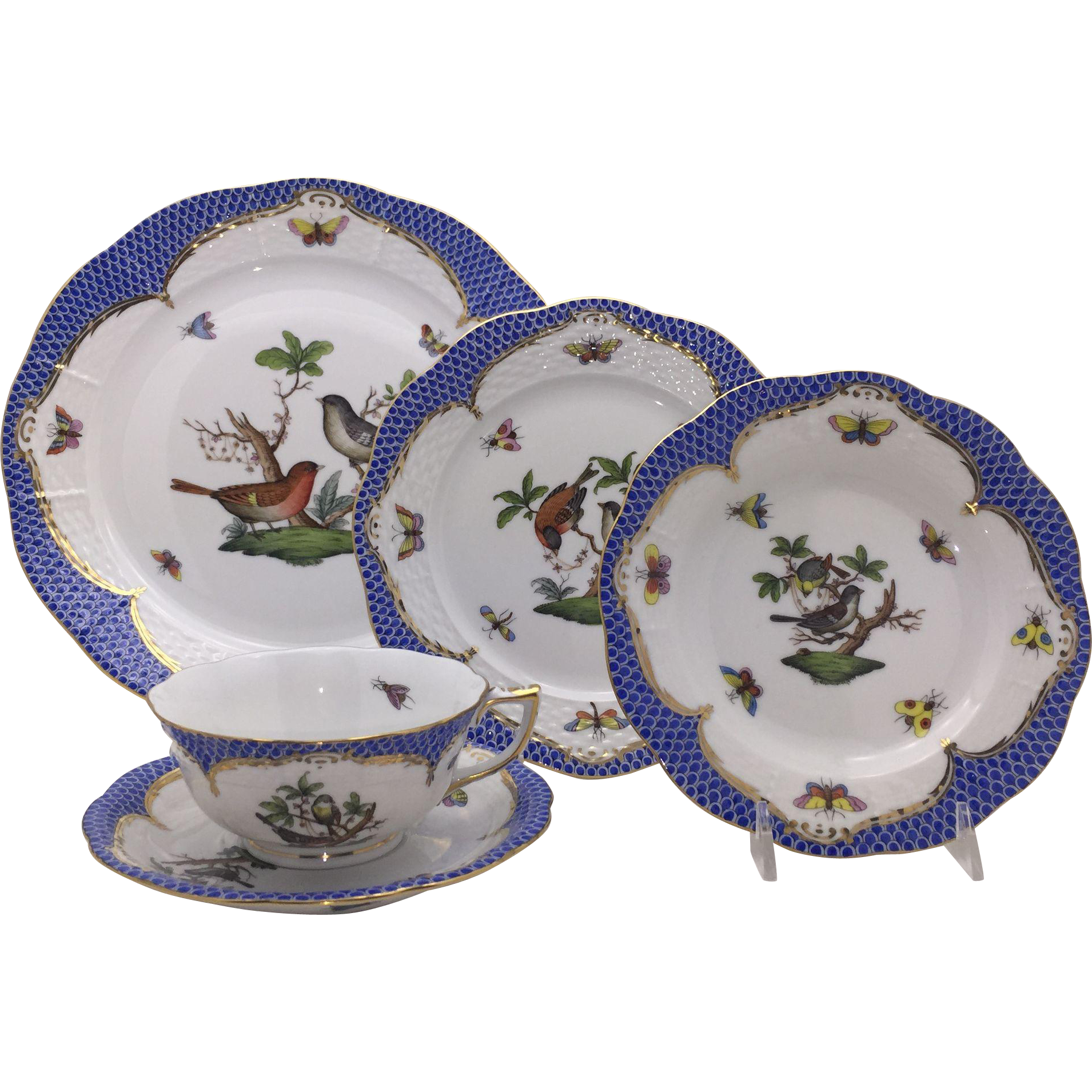 Herend Blue Rothschild Bird 5 pc Place Setting