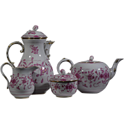 Meissen Coffee & Tea Pots with Creamer & Sugar Bowl