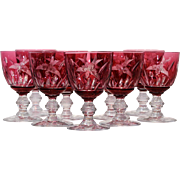 Set of 9 Val St. Lambert Cranberry Cut to Clear Water Goblets