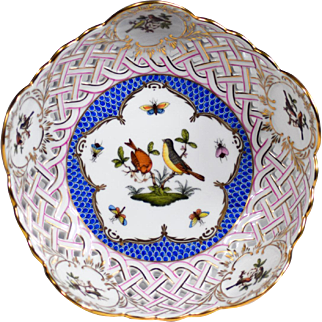 Herend Blue Rothschild Bird Pierced Hand Painted Compote