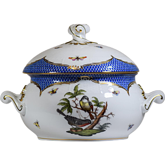 Herend Blue Rothschild Bird Vegetable Serving Bowl with Lid