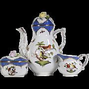 Herend Blue Rothschild Bird Tea Set