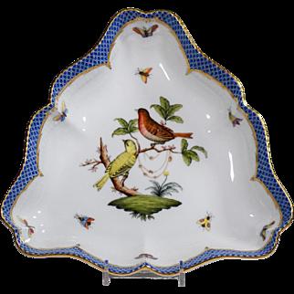 Herend Blue Rothschild Bird Tri-Corner Serving Bowl