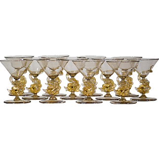 12 Salviati Venetian Murano Dolphin Figural Cocktail Glasses