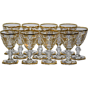12 Baccarat Gilded Empire Wine Glasses