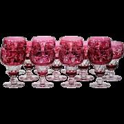12 Val Saint Lambert Cranberry Water Goblets