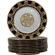 11 Copeland Cobalt Jeweled Plates