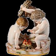 Rare Meissen Porcelain Cherubs at Fire