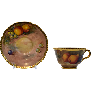 Royal Worcester Handpainted Fruit Cup & Saucer