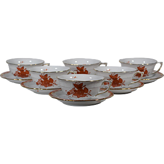 6 Herend Chinese Bouquet Tea Cups & Saucers