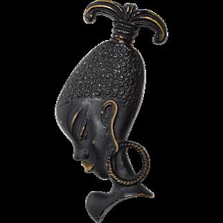 Bronze Austrian Figural African Woman Corkscrew