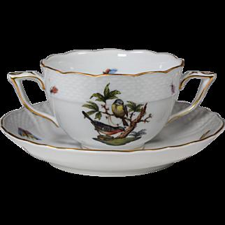 8 Herend Rothschild Bird Cream Soup Cups & Saucers