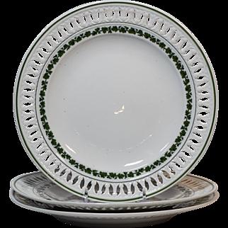 3 Meissen Pierced Green Ivy Plates