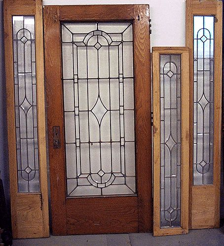 4 Pc Leaded Glass Door Set