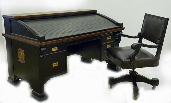 Designer's Custom Roll Top Desk and Chair
