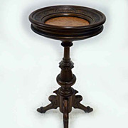Walnut Fernstand with Recessed Marble Top