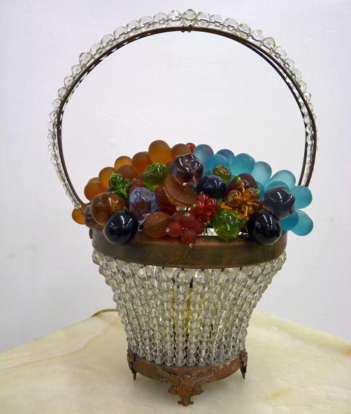 Czechoslovakian Glass Fruit Basket Lamp