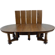 "Great Oak 60"" Round Table with 8 Leaves"