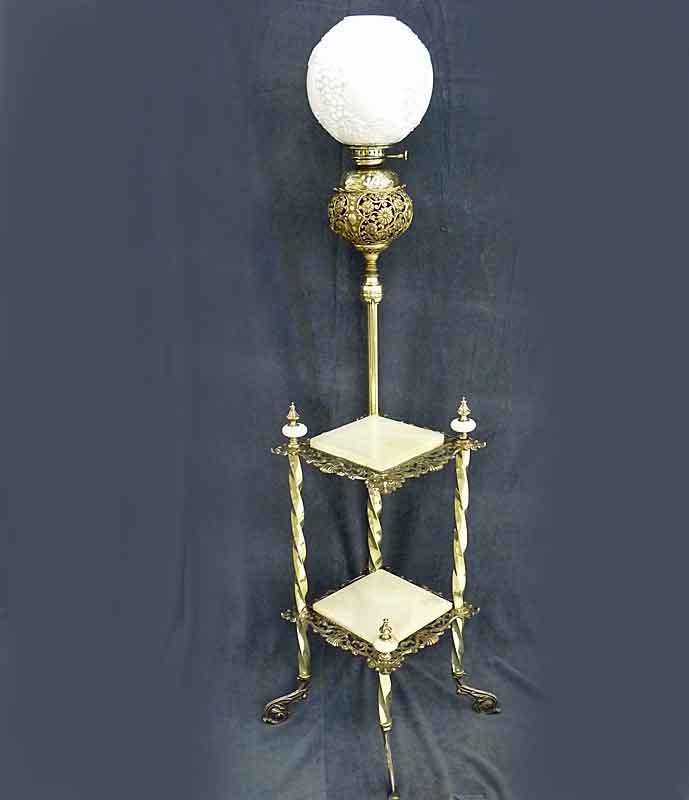 Defries Piano Lamp with Onyx and Brass Stand