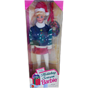 1996 Holiday Season Barbie  #15581 Mint in Box Dressed in White Pants with Green/Black sweater