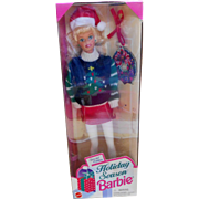 1996 Holiday Season Barbie  #15582 Mint in Box Dressed in White Pants with Green/Black sweater