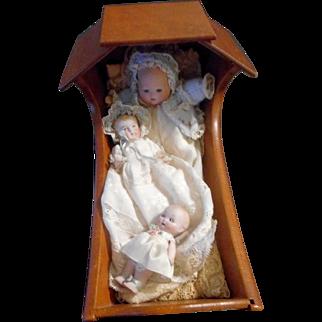 """10"""" Cradle with Three miniature German bisque babies"""