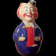 Antique Schoenhut Papier Maché Roly Poly Comic Clown 7 inches tall