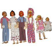 Schoenhut Pinn Family Dolls (All 6)