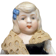Antique German All-Bisque Parian Doll, 7 Inches Tall