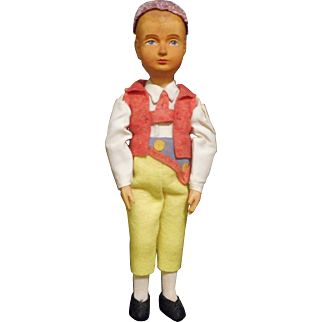 Huggler Wyss Boy Doll From The Swiss Town Of Brienz 1930's
