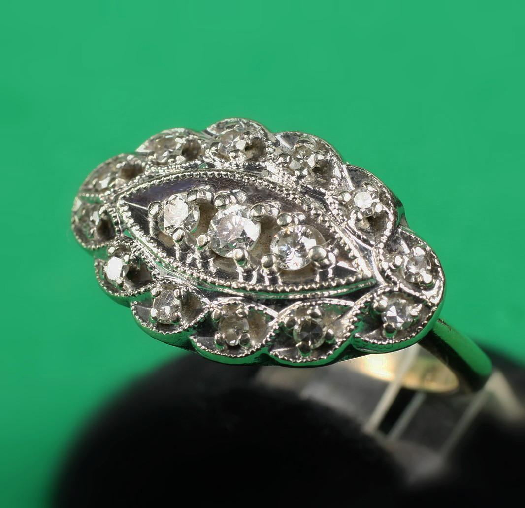 14K Two Tone Gold Diamond Ring with 0.40 Carat Total Weight