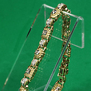14K Vintage Link Bracelet with over 0.75 Carat TW of Diamonds