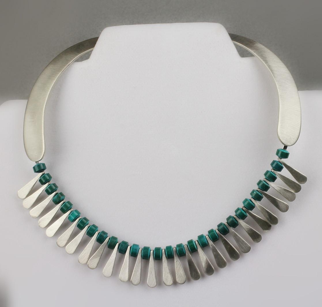 """Sterling & Turquoise 16""""  Taxco Vintage Necklace"""