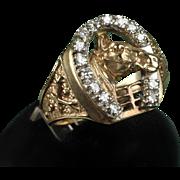 Man's 10K Diamond Horseshoe Ring