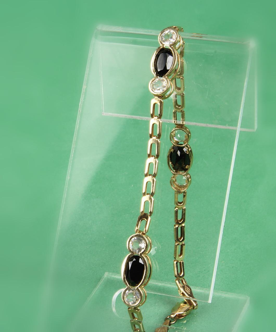 14K Yellow Gold Onyx & White Sapphire Bracelet