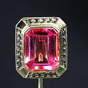 14K White Gold Pink Sapphire Stick Pin