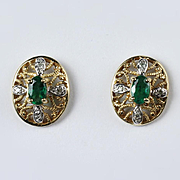 10K Yellow Gold Emerald and Diamond Filigree Earrings