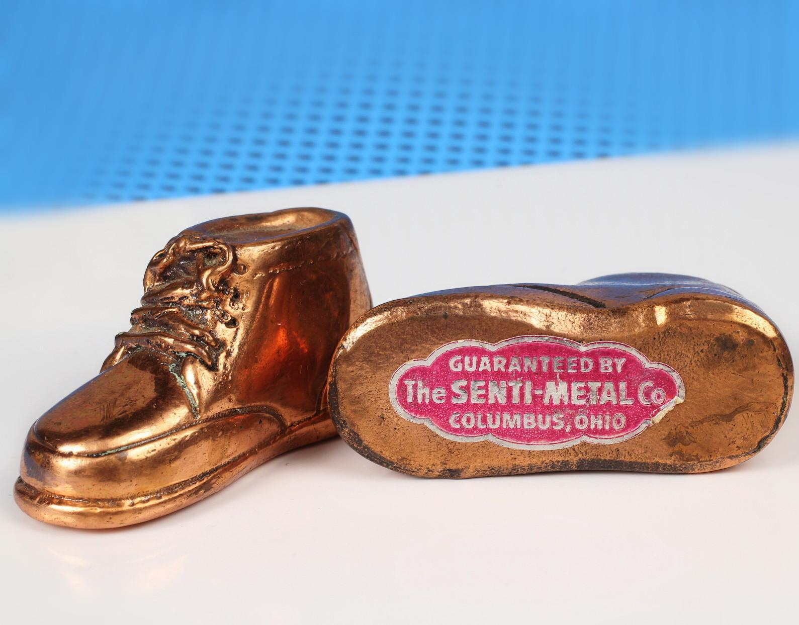 "Miniature 2"" Bronze Baby Shoes - Salemans' Sample"