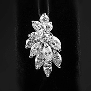 14K White Diamond Pendant - 1.50 Carats of Diamonds