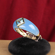 14K Blue Topaz and Quartz Shank Ring