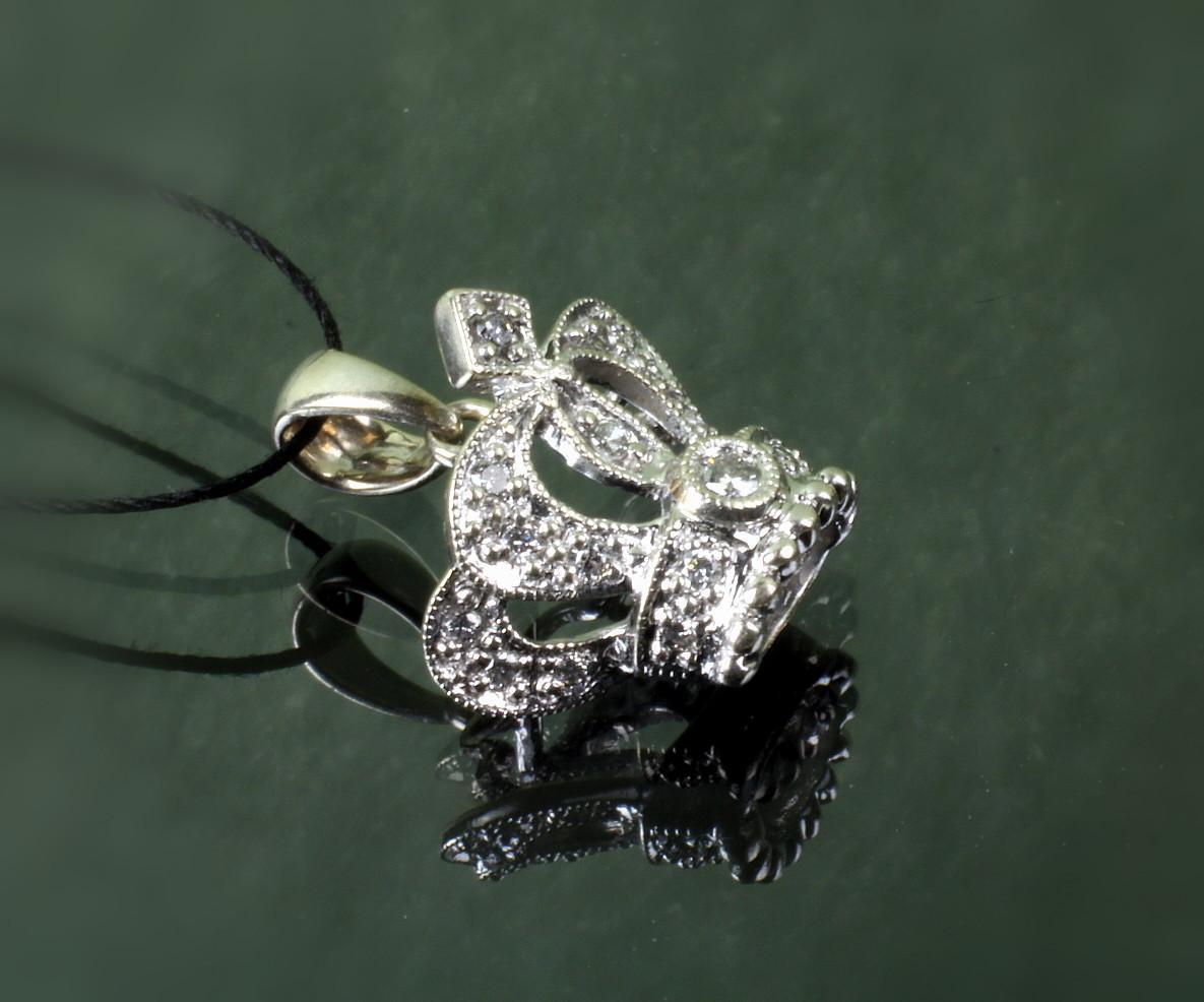 14K White Gold Diamond Crown Pendant